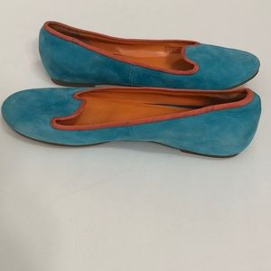 Cole Haan Shoes - Cole Haan Turquoise and Coral Suede Flats